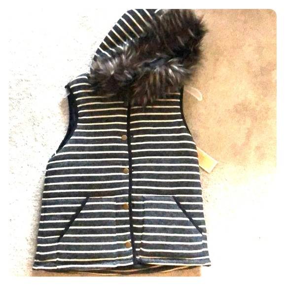 Copper Key Jackets & Blazers - NWT Striped faux fur hooded vest - small